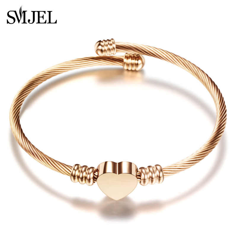 SMJEL New Elegant Heart Bangle Wristband Bracelet Cuff Gift Stainless Steel Jewelries Love Shape Bracelets Fine Pendientes