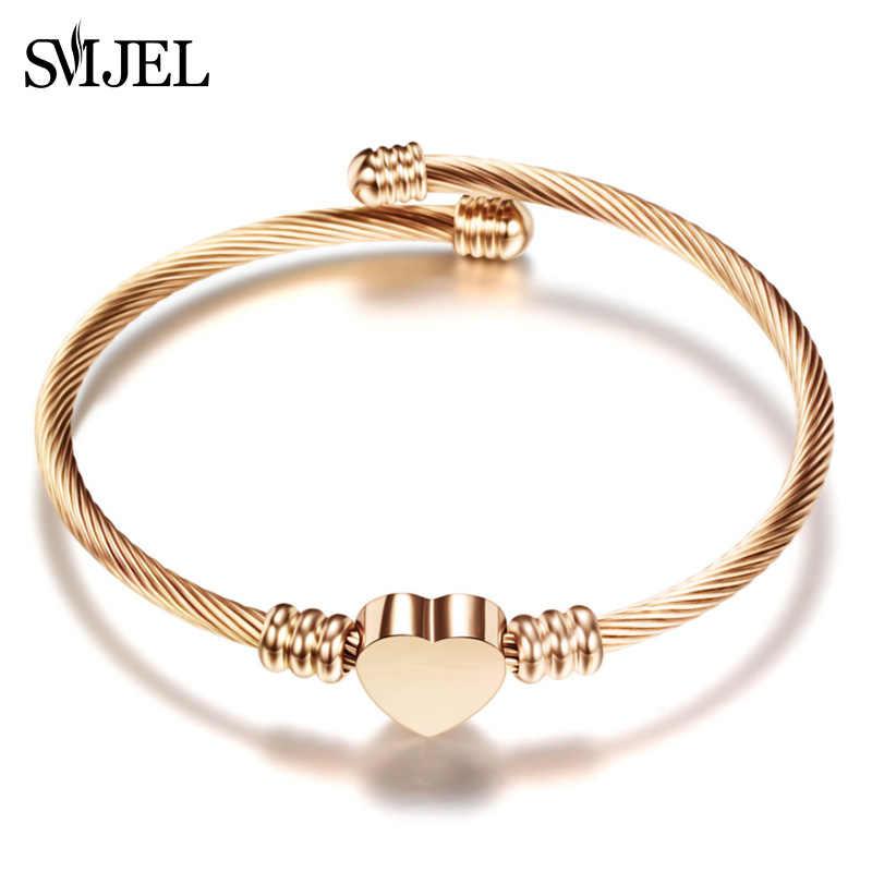 Smjel novo elegante coração pulseira pulseira manguito presente de aço inoxidável jóias forma amor pulseiras fina pendientes