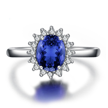 British Kate Princess Diana William Engagement Ring Blue Small diamond AAAA Cubic zirconium Rhinestone Charm for Women 6-10