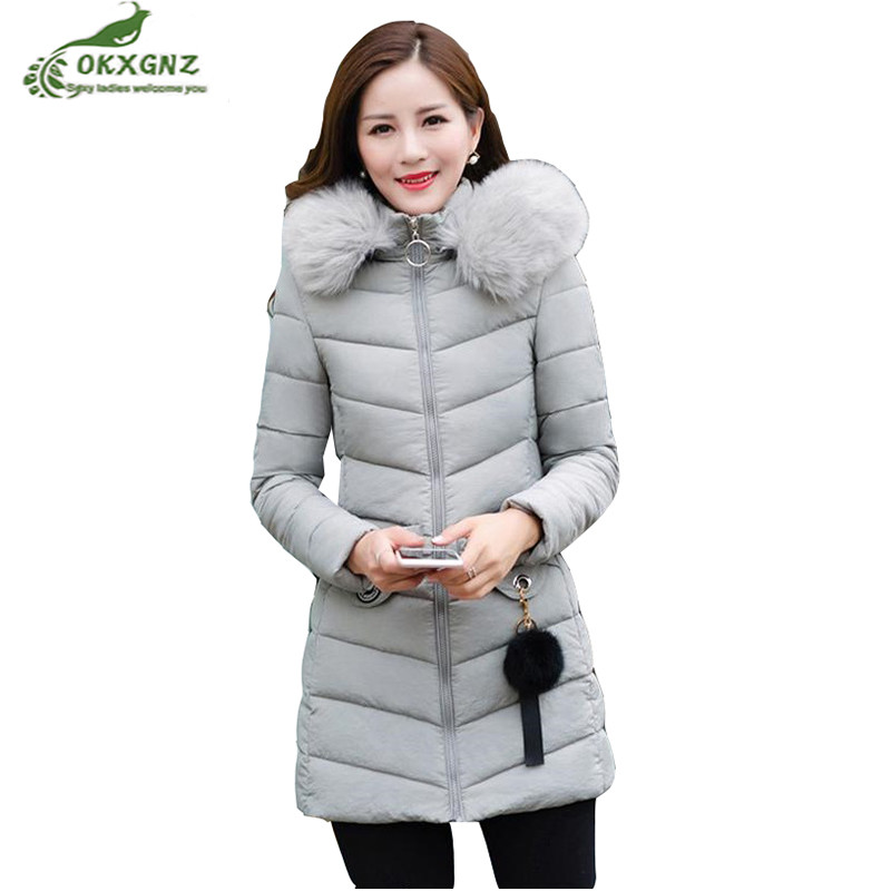 Winter new Down cotton Outerwear women long section large size Slim warm jacket coat women high-end thickening coat OKXGNZ AF231 2014 winter new top 90 european stations velvet waist slim flouncing long section of a large swing down