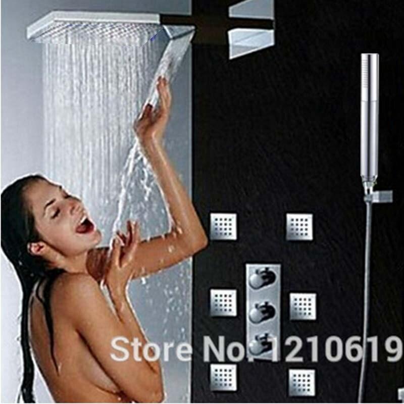 Uythner Thermostatic RainfallChrome Bathroom Shower Faucet Mixer Tap W/ Hand Shower Jet yanksamrt bathroom thermostatic control valve shower mixer tap faucet wall mount bathroom shower