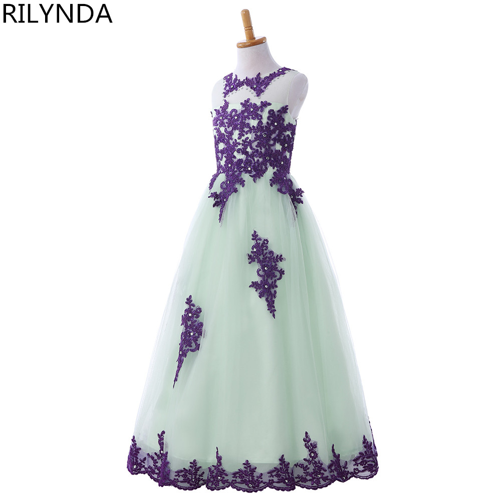 New Arrival 2017 Little Girls Pageant Dress Purple and Green Ball ...