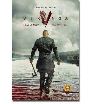 Шелковый плакат гобелен сериала Викинги