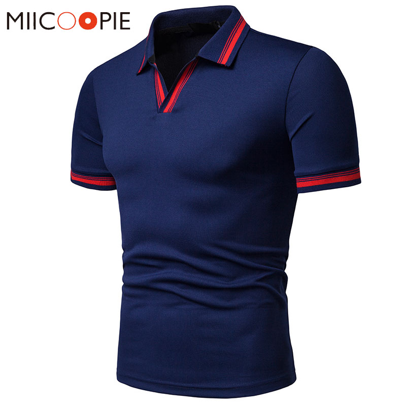 Fashion V-neck Striped   Polo   Shirt Summer Mens   Polo   Shirt Brands Solid Color Slim Fit Short Sleeve Trend Male Casual   Polo   Homme