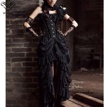 Wechery, сексуальная винтажная длинная юбка макси в стиле стимпанк, юбка миди в готическом стиле, эластичная плиссированная женская черная юбка из тюля