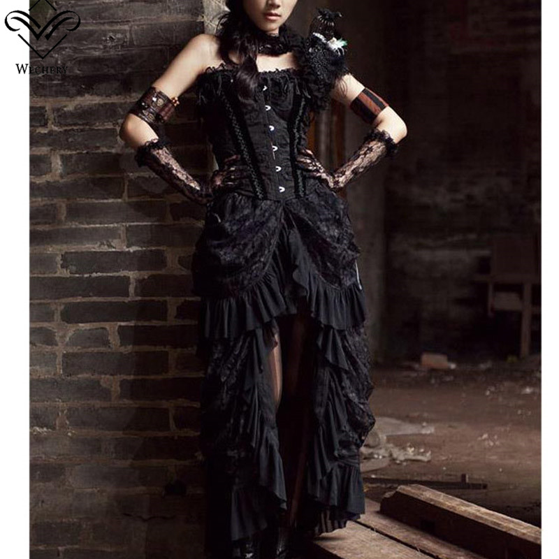 Wechery Sexy Vintage Long Maxi Steampunk Skirts Punk Midi Gothic Corset Skirt elasticity pleated Women Black Skirts Tulle