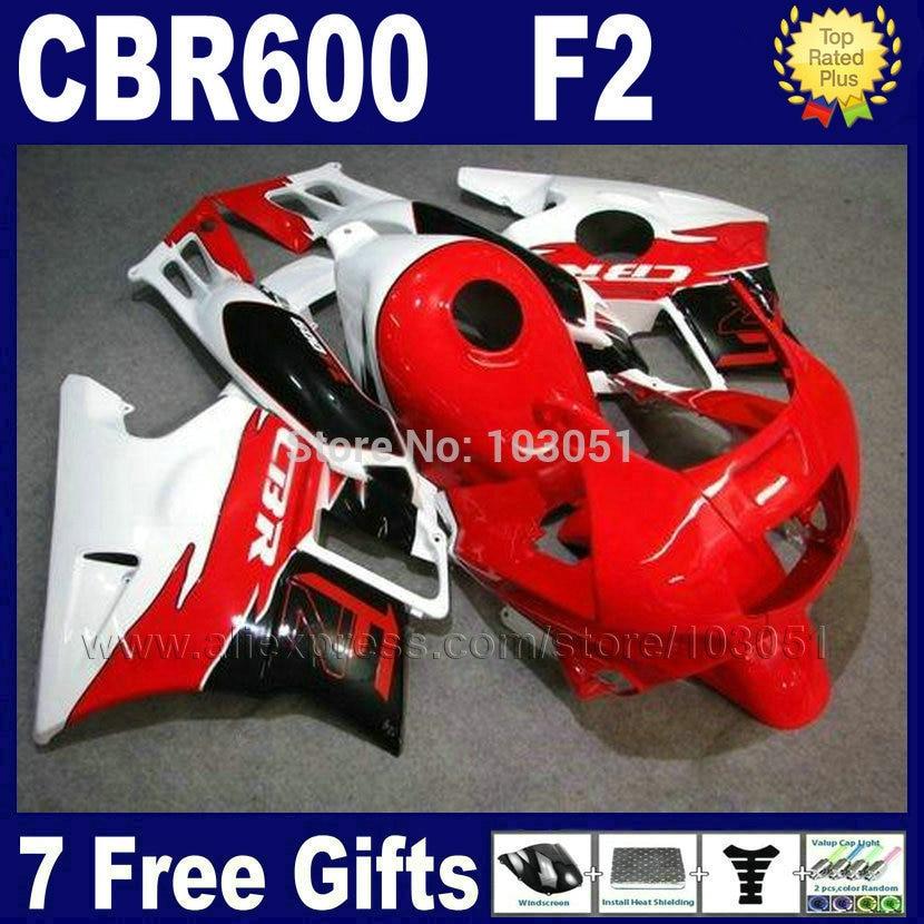 Custom Motores carenados kits para Honda 1993 1994 CBR 600 F2 1991 1992 cbr600 91 92 93 94 F2 cbr600 f rojo White Road carenado
