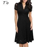T O Eu US Cap Sleeve Crochet V Neck Front Button1950s Style Vintage Black Lace A