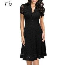 T'O Eu-US Cap Sleeve Crochet V Neck Front Button1950s Style Vintage Black Lace A-line Office Lady Work Party Elegant Dress 175
