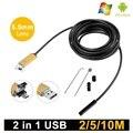 2em1 USB Android Câmera Endoscópio 5.5mm Lente de Ouro Serpente Tubo de Inspeção 2 M 5 M 10 M PC Android endoscópio USB Câmera Endoscópica
