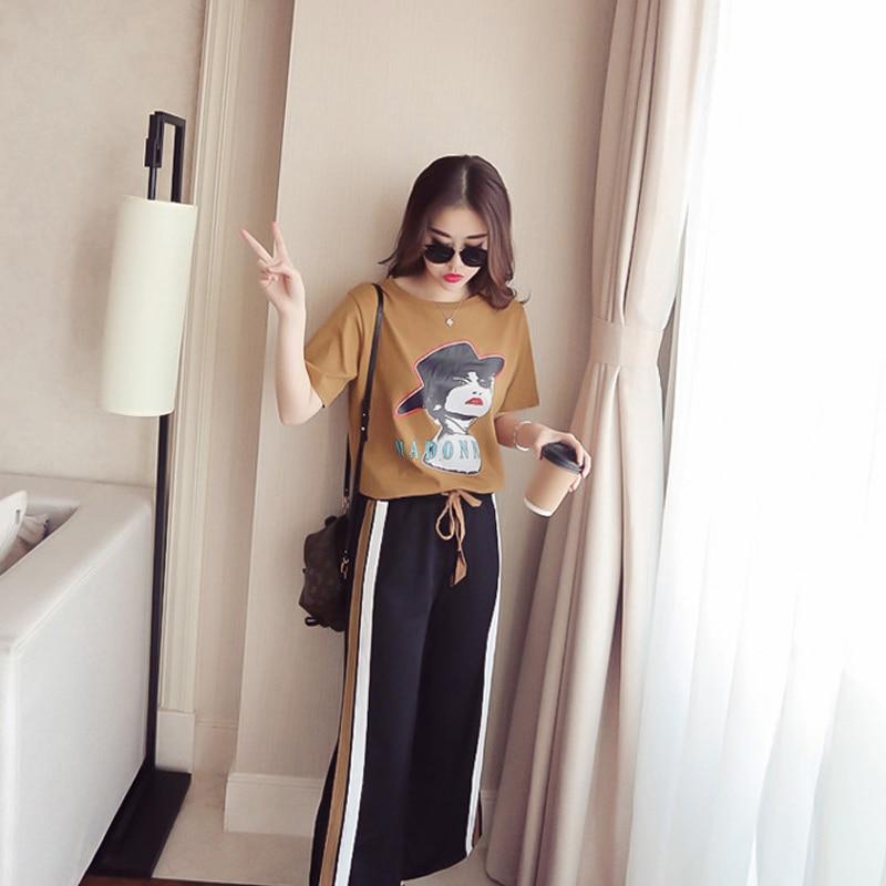 2 Pcs/Set Summer Tracksuit Mulher Short Sleeve Tops+Split Wide Leg Pants Sporting Suit Casual Suit