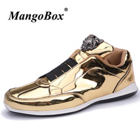 Hot Sale Men Pu Leather Footwear Casual Flats Shoes Nightclub Youth Fashion Footwear Adult Gold Silver Men Luxury Brand Shoes