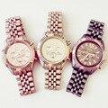 ¡ NUEVO!!! Moda Completa de Acero Inoxidable Reloj de Ginebra Mujeres Champagne Oro Elegante Mate Pulsera de Reloj de Cuarzo Reloj de Vestir Relojes