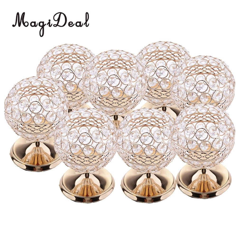 8pcs Vintage Shining Crystal Alloy Candle Holders Wedding Centerpieces Candlesticks Set for Dining Table Decorations Gifts