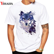 T-Shirt Men 3D Print Space Galaxy Wolf Graphic Tees Casual T Shirts White Tee  Stylish Animal printed Summer Tops eagle printed galaxy tee