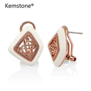 Kemstone Vintage Rose Gold/Silver/ Color Vine Stud Earrings Women Fashion Jewelry