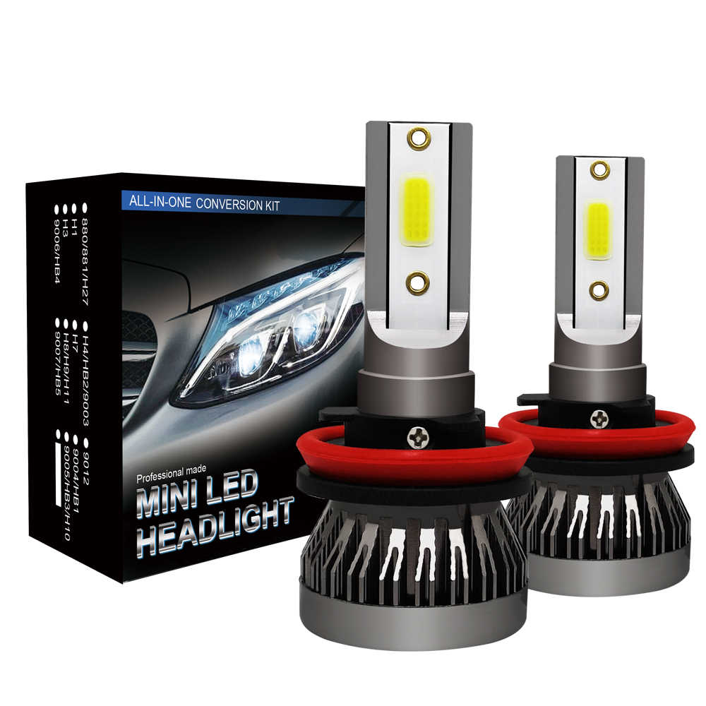 2Pcs Super Mini H7 LED H11 H8 H9 H1 HB4 HB3 9005 9006 9012 LED Headlight Bulb Car Lamp Auto Light Fog Light 72W 8000lm
