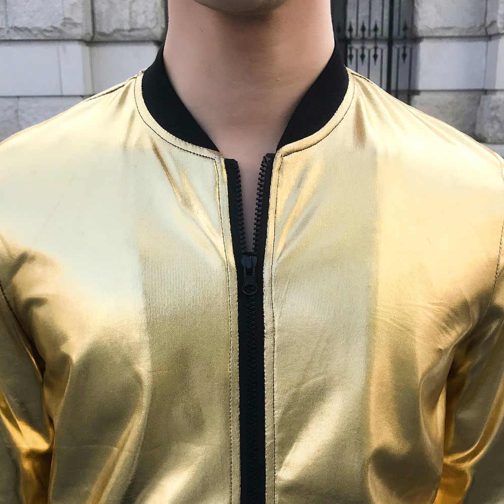 Фирменная Новинка Для мужчин лето Повседневное Курточка бомбер Slim Fit с длинным рукавом сплошной Солнцезащитная одежда ночной клуб сценический костюм плюс Размеры