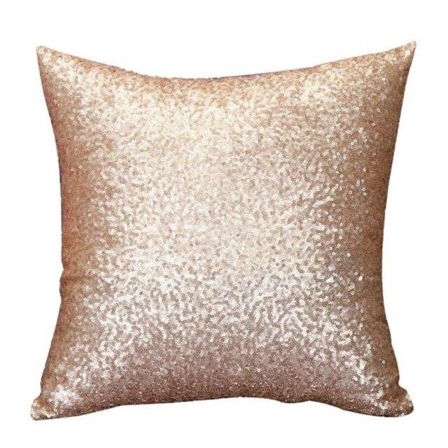 Melhor Cor Sólida Glitter Lantejoulas Lance Fronha Início Quarto Almofada (Prata/Ouro/Rosa/Cinza 45*45 cm)