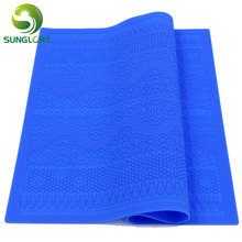 1PC New Arrivals Silicone Mat Fondant Cake Decorating Styling Tools Kitchen Lace Mold Flower Pattern Color Blue