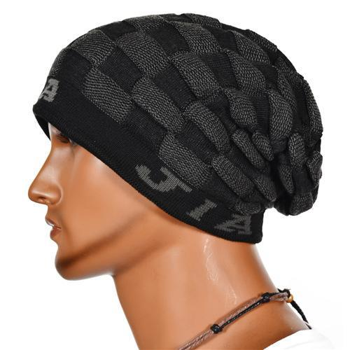 New Design Cool Mens Beanies Fashionable Grid Pattern Winter Hats Good  Material Sports Crochet Skull Cap Online B846 5e75bfcb12f