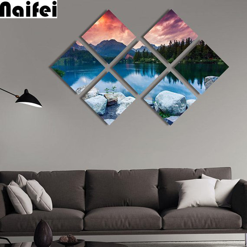 7 pcs/set 5d diamond painting Mountain,lake landscape Wall Art Decoration DIY full square diamond embroidery mosaic pictures