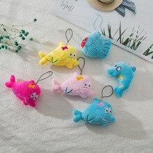 8CM Mini Fish Plush Toy Lanyard Cartoon Animal Small Key Chain Pendant Mobile Phone Bag Hanging Ornaments Childrens Gift