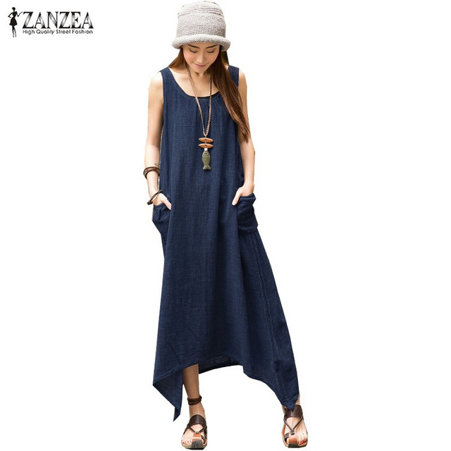 ZANZEA 2017 Summer Boho Women Casual Loose Sleeveless Long Dress Vintage Pockets Irregular Maxi Dresses Plus Size Vestidos