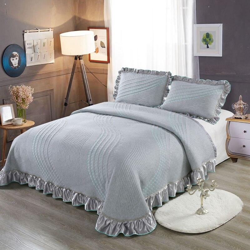 Coton Argent Gris Couvre-lit Lit de literie de Luxe ensemble Reine King size Matelas couverture colchas par cama couverture de allumé