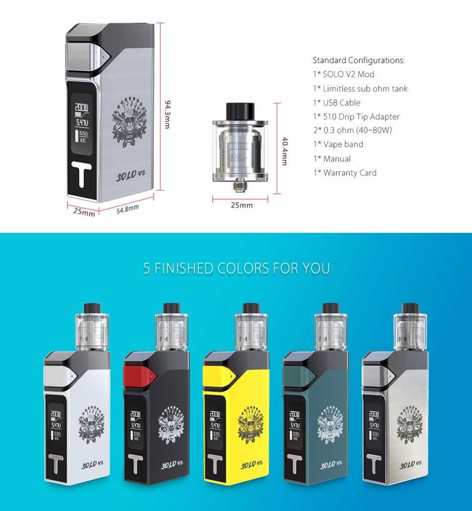 ФОТО 100% Original 200W IJOY Solo V2 Kit with SOLO V2 Mod 200W and 0.4ohm Sub Ohm Tank Atomizer 2ml vs 200W IJOY RDTA BOX Kit