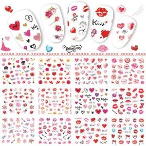 Image 1 - 12 デザインバレンタインネイルステッカーハートローズレッド唇ギフト水転写デカール装飾アートマニキュア TRBN745 780