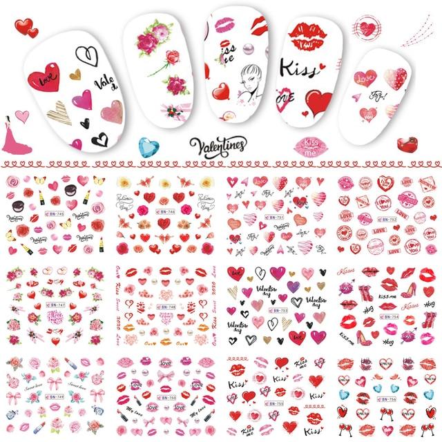12 デザインバレンタインネイルステッカーハートローズレッド唇ギフト水転写デカール装飾アートマニキュア TRBN745 780