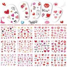 12 تصاميم عيد الحب مسمار ملصقات القلب ارتفع أحمر الشفاه الهدايا نقل المياه الشارات زينة لمسمار الفن مانيكير TRBN745 780