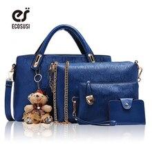 ECOSUSI 4 Pc Set Women Bag Composite Bag Embossing Pu Leather Handbag Women Messenger Bags Clutch