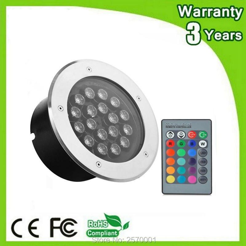 (4 PCS/Lot) garantie 3 ans 12 W 18 W 36 W RGB LED lumière souterraine lampe enterrée projecteur télécommande changement de couleur Spot mur rondelle