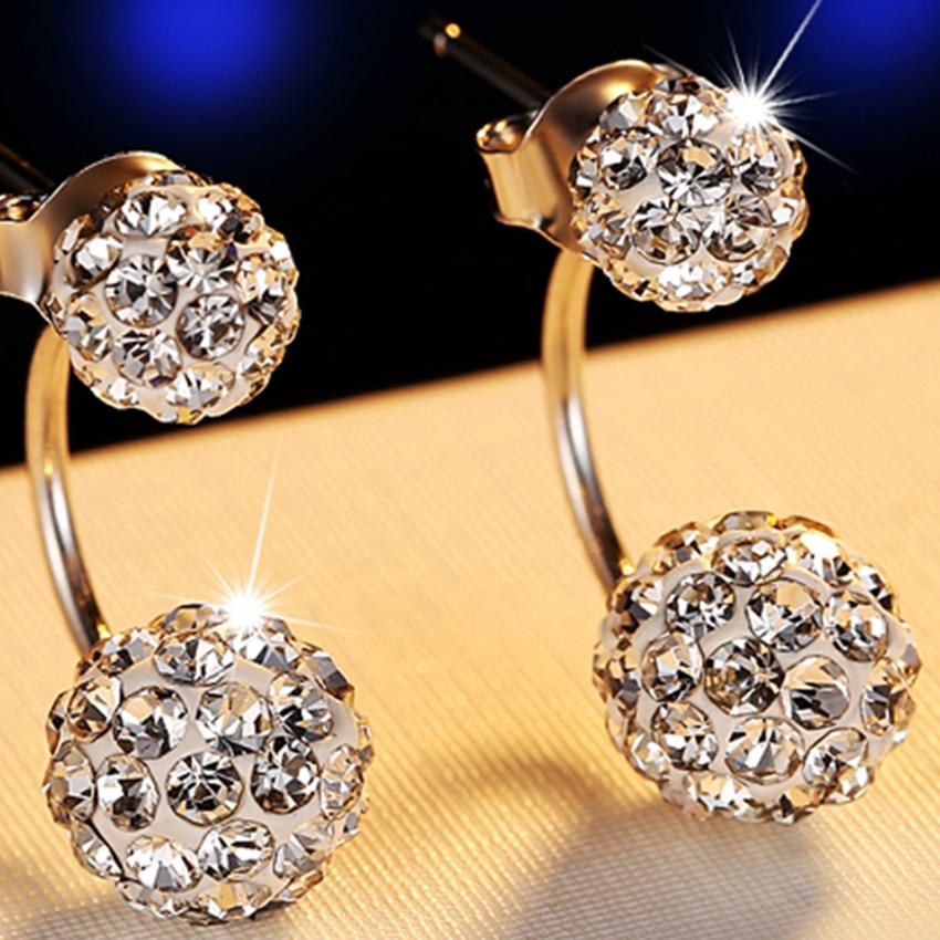Kadın Lüks Shambhala Crystal Ball Saplama Küpe Moda Gümüş - Kostüm mücevherat - Fotoğraf 2