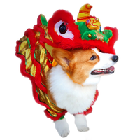 Funny Dog Clothes New Year's Pet Chinese Costume Dragon Dance Lion Dog Clothes Lion Dance Red Festive Lucky Cat Clothes Makeover