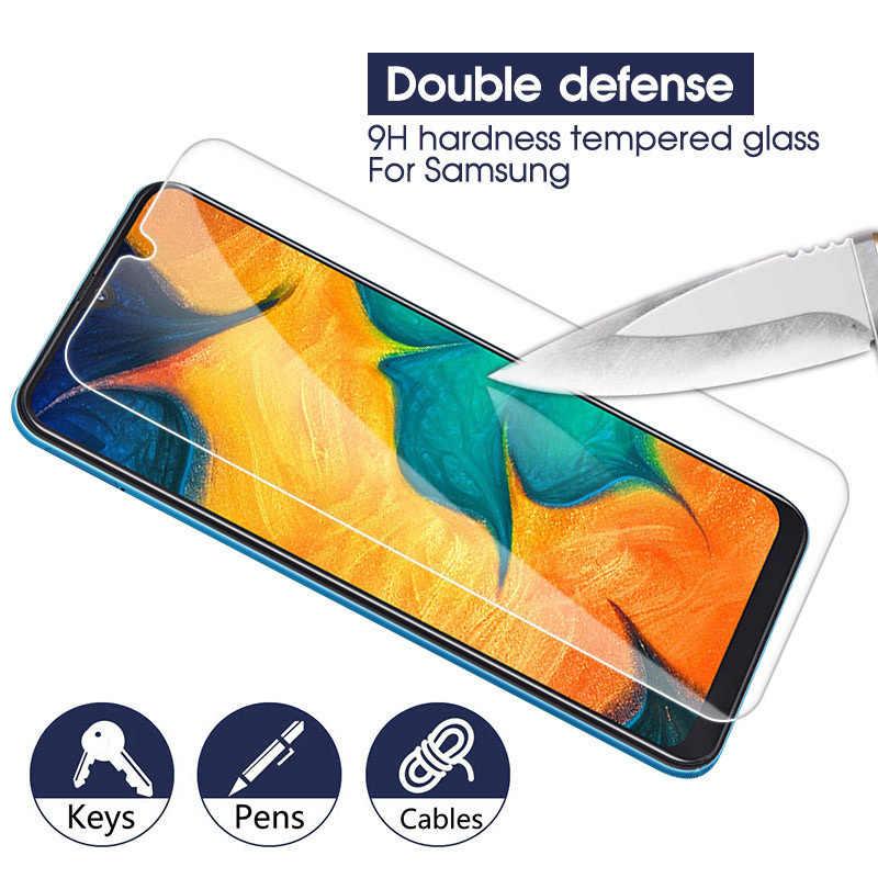 الزجاج المقسى لسامسونج غالاكسي A50 A70 A40 A30 A20 A10 9 H واقي للشاشة لسامسونج A520 A7 A8 2018 حماية زجاج عليه طبقة غشاء رقيقة