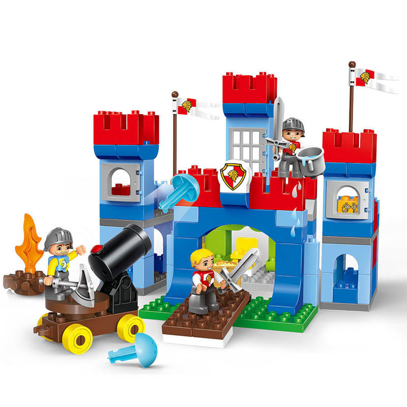 138pcs Big Size Diy Duploe Castle Large Particles War Building Blocks Educational City Compatible With Bricks Toys For Children 102pcs diy big size building blocks bricks city creative with educational compatible with legoing duploe toys for children gifts