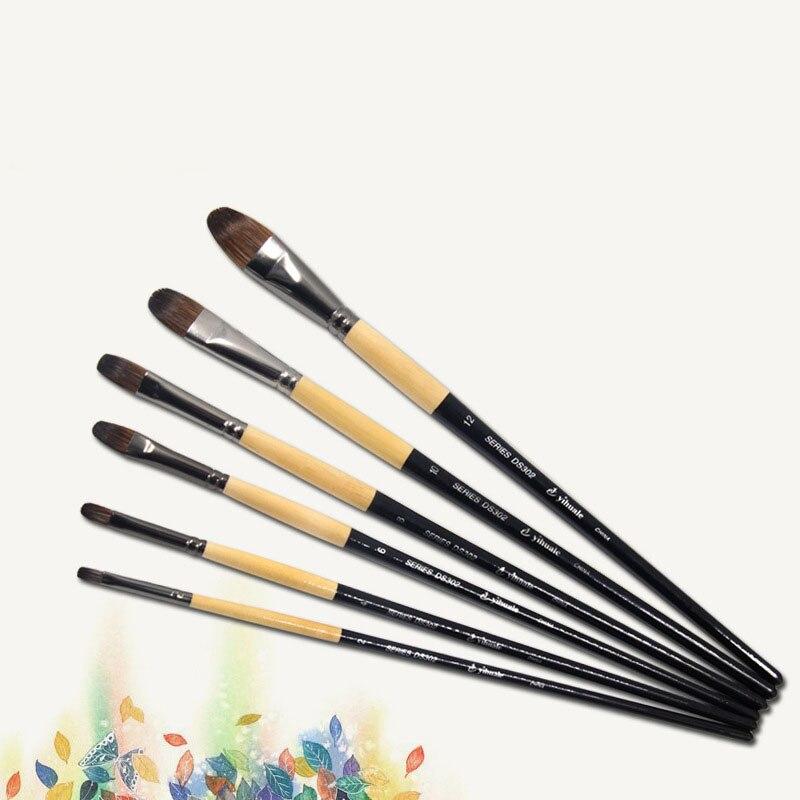 6pcs/Set Chinchilla Hair Birch Rod Art Brush Water Color Brush Gouache Paintbrush Oil Paint Brush Artists Drawing Art Supplies