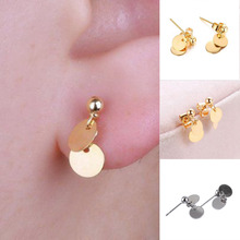 цена на 1 Pair Cute Small Round Geometry Stud Earrings For Women Fashion Charm Jewelry Alloy Ear Studs Silver Gold Color Free Ship