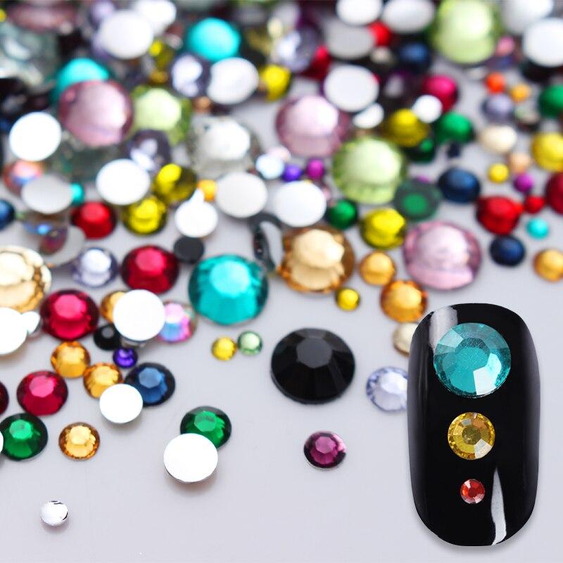 2000Pcs Colorful Flatback Nail Rhinestone Crystal Mixed Size Strass Stones DIY Manicure 3D Nail Art Decoration Accessory 20pcs set nail rhinestone variety of shapes colorful stones for 3d nails decoration