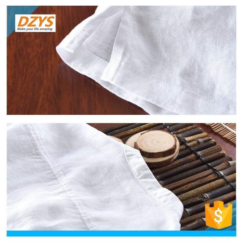 DZYS JF estilo chino de algodón y lino de los hombres de manga corta de lino de manga corta Camisa de gran tamaño Lino verano Suelto camiseta - 3