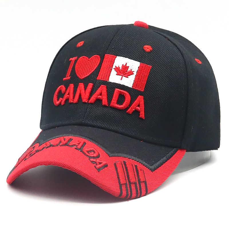 5b78c0cc3b3 2018 New Canada baseball cap 3D embroidery I love Canada snapback hat  adjustable cotton sports hats