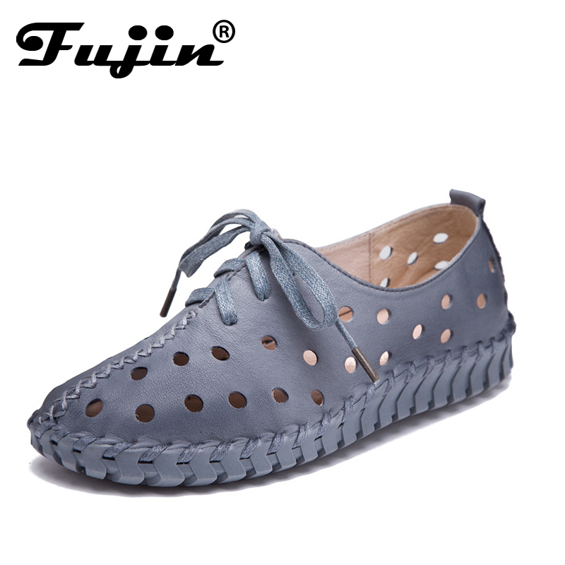 Fujin 2018 New Arrival Women Flats Shoes Women loafers Ladies Slip on Flats 6 colors Genuine Leather Driving Shoes Hot Sale