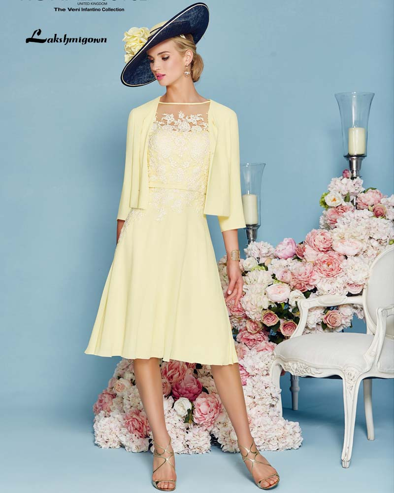 Short Chiffon with Jacket Appliques Mother of the Bride Dresses Two ...