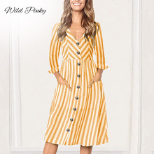 WildPinky dress women vintage BOHO Buttons V-neck long sleeve Beach Playsuits Summer Women Striped Girls Casual Femininos