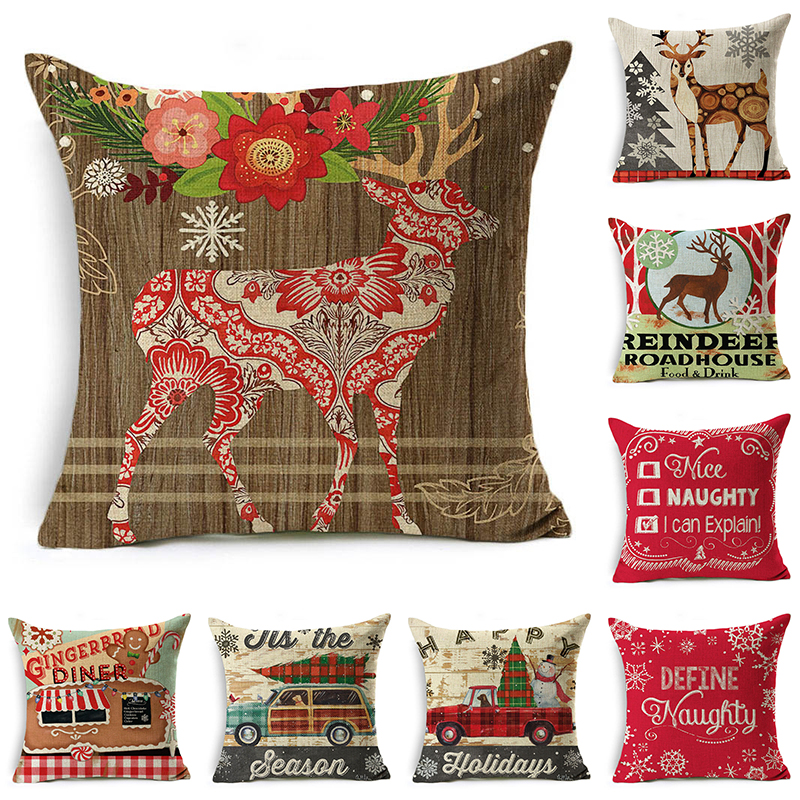 decorUhome Cartoon Pillow Cover Kids Christmas Deer With Flower Car Cushion Cover Decorative Throw Pillow Case Sofa Home Decor