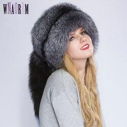 Шапка принцессы из натурального Лисьего меха, шапка в монгольском стиле, уникальный дизайн с лисьим хвостом, Роскошные зимние теплые шапки ...