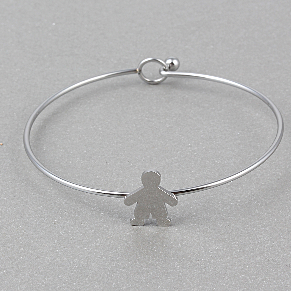 ZMZY Stainless Steel Simple Wire Bangle Charms Bracelets for Women ...